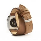 reminky apple watch double stitched BROWN LIGHT - TITLE - BACKSIDE closed roll - 1000 x 1000 px.jpg