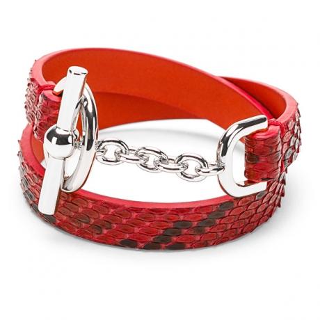 náramek z hadí kůže, červený, stříbrné zapínání